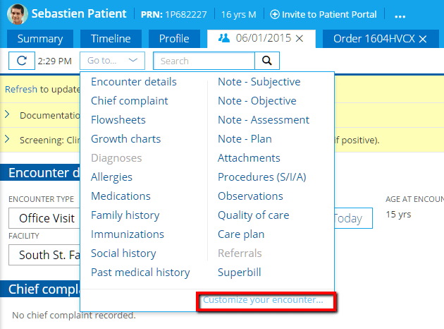 Practice Fusion EHR - Customize Encounter